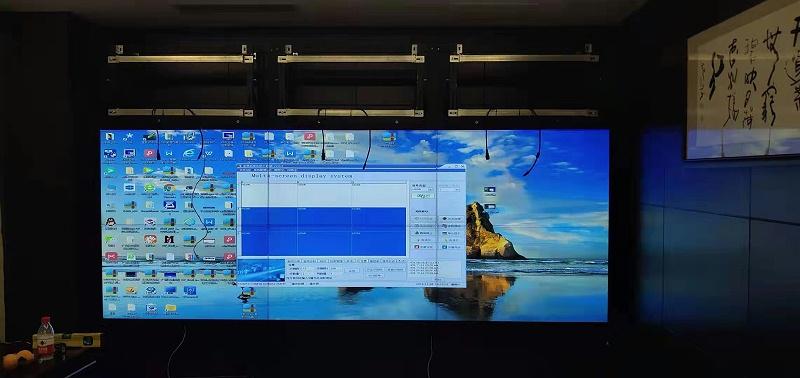 百佳华无缝拼接屏项目前维护液压支架安装效果图