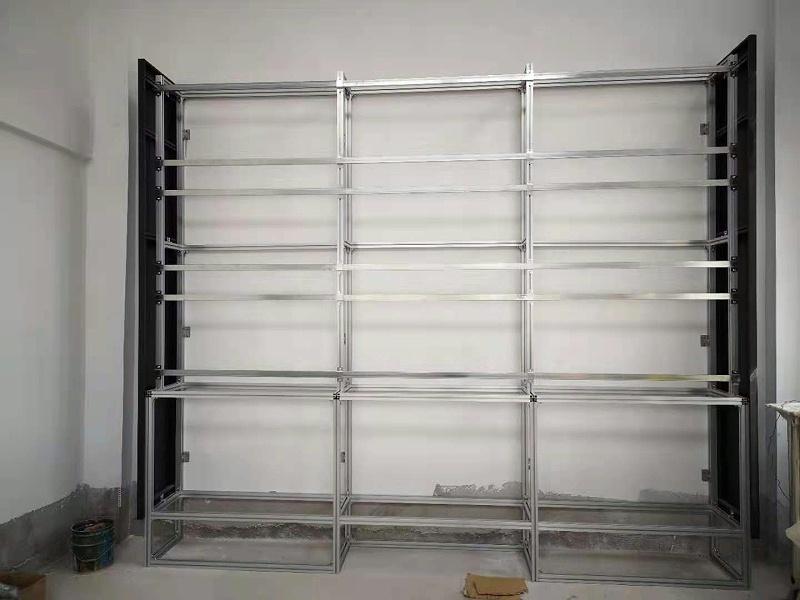 企业展厅9台3.5拼缝液晶拼接屏案例现场安装