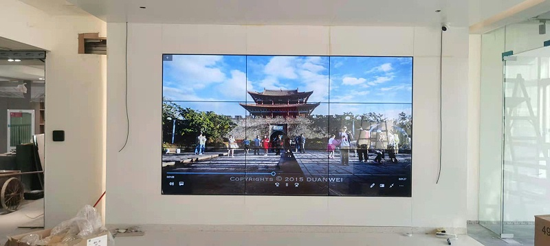 中亿睿49寸拼接屏成功入驻深圳宝安金港商务大厦展厅项目安装效果