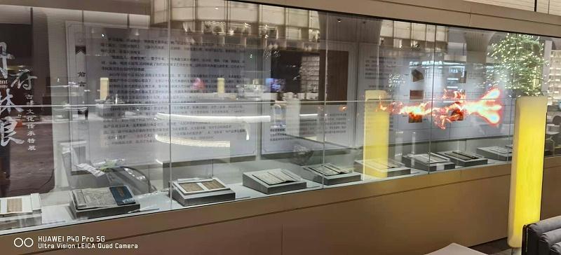透明屏OLED拼接屏应用河北某企业建设科技馆展厅项目展示效果