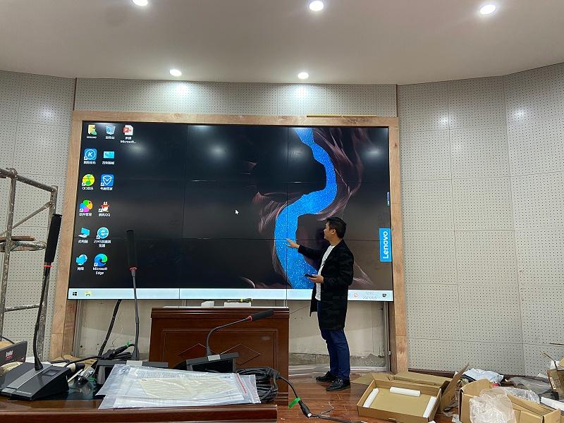 中亿睿液晶拼接屏案例分享:贵州铜仁第二中学二楼会议室项目安装效果